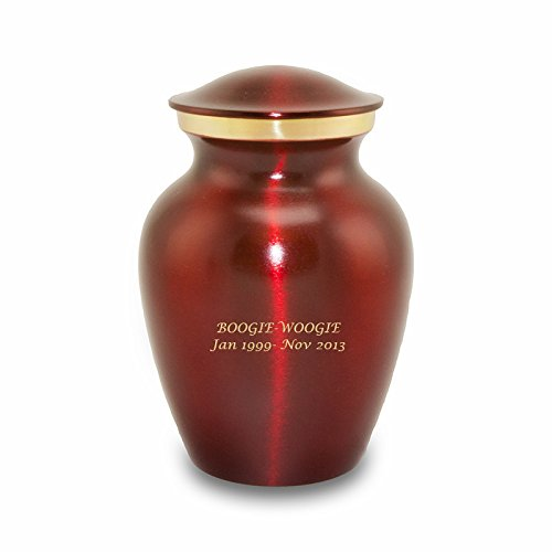- Simple Classic Style Bronze Memorial Funeral Urn for Cats and Dogs - Extra Small - Holds Up to 25 Cubic Inches of Ashes - Crimson Red Pet Cremation Urn for Ashes - Engraving Sold Separately