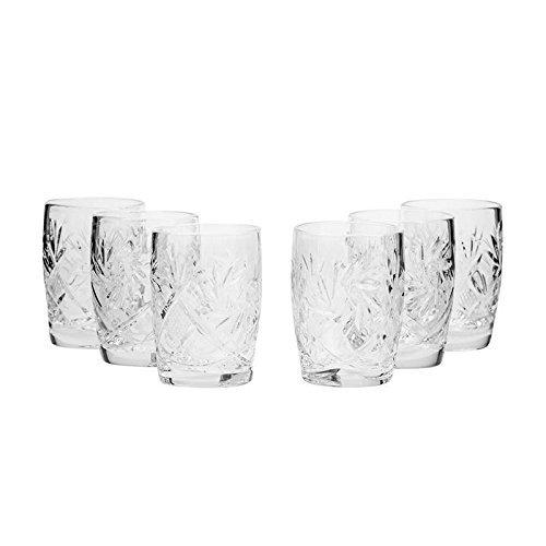 Vintage Shot Glass - Set of 6 Neman Glassworks, 1.5-Oz Hand Made Vintage Russian Crystal Glasses, Whisky Shots Old-fashioned Glassware