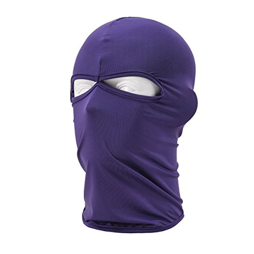 Purple Ski Mask Winter Warm Snowboard Face Mask Bandana Neck Cover 2 Holes