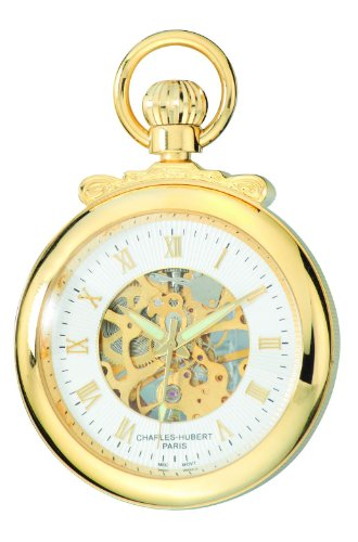 Charles-Hubert-Paris-3903-G-Classic-Collection-Gold-Plated-Open-Face-Mechanical-Pocket-Watch
