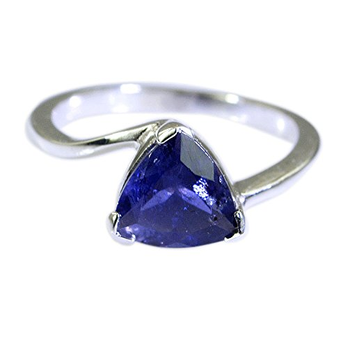 - Natural Iolite Ring Sterling Silver Trillion Cut Blue Stone Handmade Jewelry Gift Size 5,6,7,8,9,10,11,12
