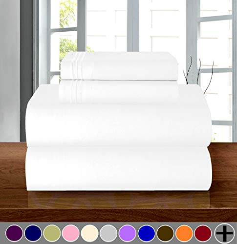- Elegant Comfort Luxury Soft 1500 Thread Count Egyptian Quality 3-Piece Sheet Wrinkle and Fade Resistant Bedding Set, Deep Pocket up to 16inch, Twin/Twin XL, White