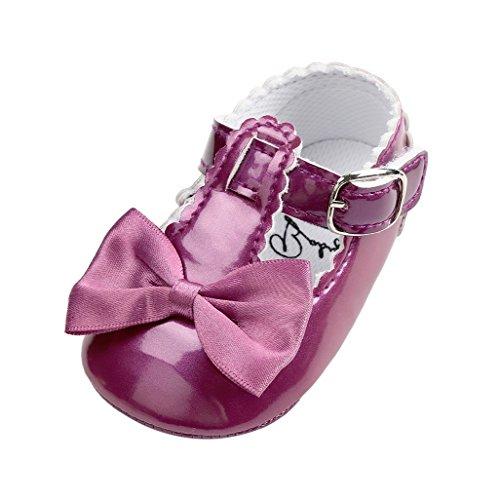 Baby-erste gehende Schuhe, Auxma Baby-Mädchen Bowknot-Dekoration Gleitschutzsohle Schuhe für 0-18 Monate (13cm(12-18M), Weiß) OO