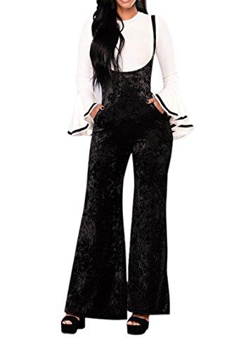 PinkWind Women Fashion Velvet High Waist Wide Leg Suspender Trouser Pant Suit Black (Black Velvet Trousers)