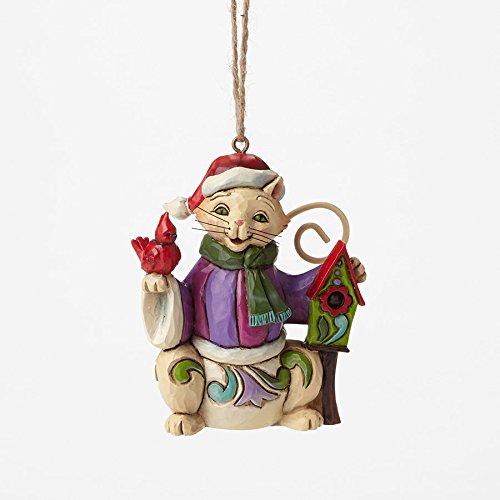 Christmas Cat Mini Ornament (Jim Shore for Enesco Heartwood Creek Cat with Birdhouse Mini Ornament, 3.125
