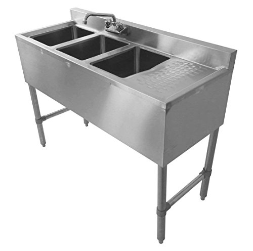 DuraSteel 3 Compartment Stainless Steel Bar Sink NSF 10 x 14 Bowl Size Commercial Standard Underbar NSF Approved Faucet Included Right Drainboard