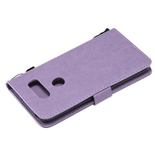 LG V30móvil, cowx funda de piel sintética para LG V30Funda Árbol para gatos claro púrpura