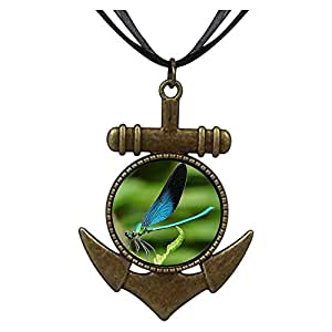 Chicforest Bronze Retro Style Beautiful Lovely Dragonfly Anchor Pendant