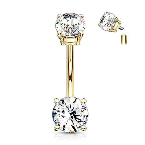 Inspiration Dezigns Internally Threaded Top Double Prong Set CZ Belly Button Navel Rings (Gold/Clear)