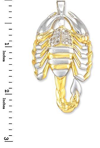 10 ct 471/1000 Deux-Tons Or Scorpion Oxyde de Zirconium Pendentif