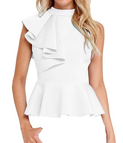 Shawhuwa Womens Sexy Asymmetric Ruffle Side Peplum Top Clubwear M White (Cheap Sexy School Girl Outfits)