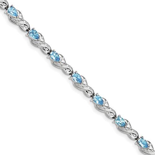 ICE CARATS 925 Sterling Silver Blue Topaz Bracelet 7 Inch Gemstone Fine Jewelry Gift Set For Women Heart