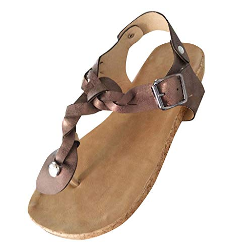 Aunimeifly Ladies Casual Retro Sandals Twist Braided Clip Toe Flat Open Heels Women's Roman Sandals Brown ()