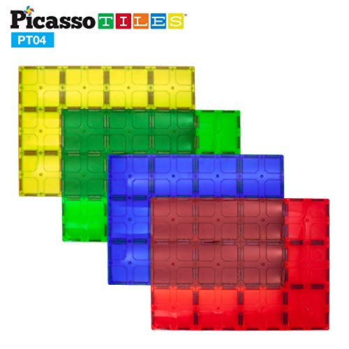 (PicassoTiles Kids Toy Magnetic Building Blocks Magnet Tiles Supersized 4pc Large Stabilizer Base Jumbo XL Plate Foundation Education Construction Kit Engineering STEM Children Learning Stacking Set)