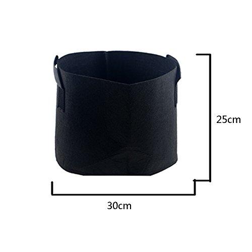 Hongville 5-Pack Grow Bags /Aeration Fabric Pots w/Handles (Black) (5-Gallons) by Hongville (Image #5)