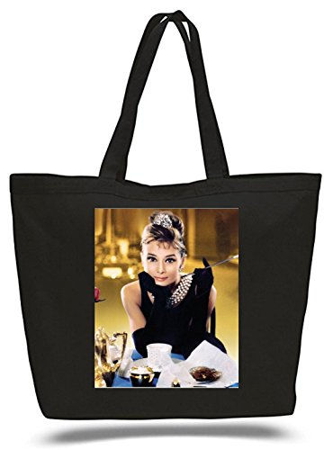 XXL 23 x 17 x 5 Canvas Cotton Tote Bag Breakfast At Tiffany's Audrey -