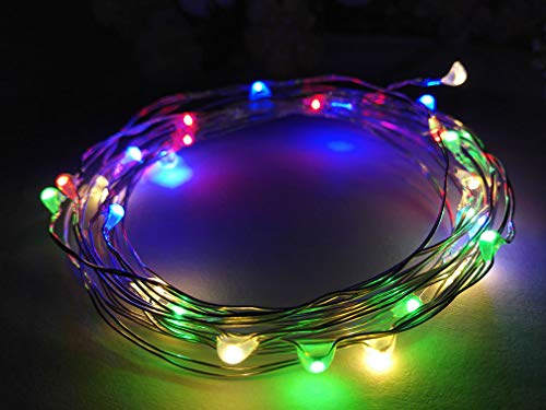 Viewpick 10ft(3m) 30 LEDs Multicolored Fairy Lights Silver Wire Lights Waterproof Led String Starry Lights Battery Powered Light Rope Lights for Seasonal Decorative Christmas Holiday Wedding Parties -