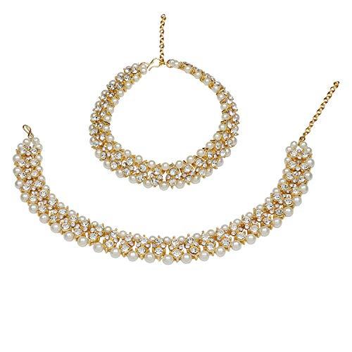 (Efulgenz Indian Bollywood Gold Plated Faux Kundan Pearl Wedding Bridal Anklet Pair (2 Piece) Bracelet Payal Foot)