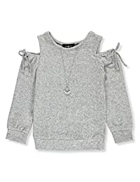 Amy Byer Girls' Tied Fuzz Cold Shoulder Top with Necklace