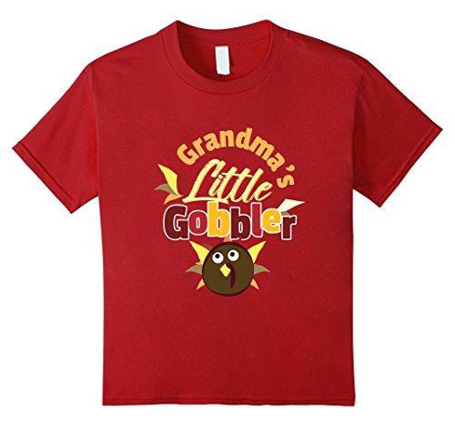 Kids Grandmas Little Gobbler Cute Thanksgiving Day Wild Turkey 10 Cranberry