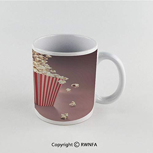 11oz Unique Present Mother Day Personalized Gifts Coffee Mug Tea Cup White Modern,Retro Style Popcorn Art Image Home Cafe Design Kitchenware Cardboard Vintage Cinema,Light Red White Funny Ceramic Cof