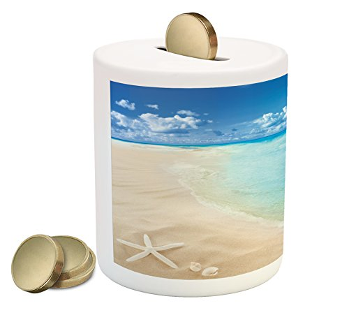 Ambesonne Beach Piggy Bank, Sunny Summer Seashore with Clear Sky Seashells Starfish Clouds Aquatic Picture, Printed Ceramic Coin Bank Money Box for Cash Saving, Aqua Cream Blue by Ambesonne