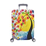 Artistic Tree Summer Spring Flowers In Starry Night Pattern Spandex Trolley Case Travel Luggage Protector Suitcase Cover 28.5 X 20.5 Inch