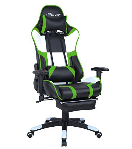 Merax Executive Swivel Gaming Chair High-Back Racing Chair with Adjustable Armrest/Lumbar Suppor/Headrest (Green) by Merax.