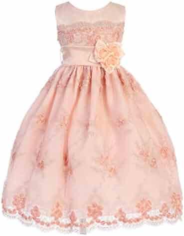29460d2c5 Crayon Kids Little Girls Peach Embroidered Flower Adorned Easter Dress