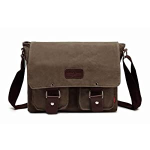 "Bienna Vintage Canvas Messenger Bag Satchel Laptop Over Shoulder Crossbody Side Bags with Zipper for Men Women School Outdoor Sports EDC 13""-Gray"
