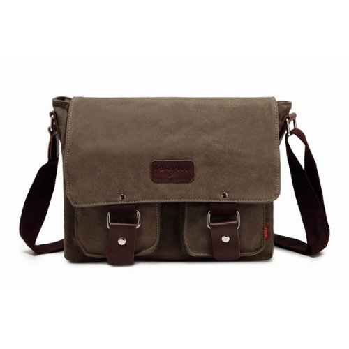 Bienna Vintage Canvas Messenger Bag Satchel Laptop Over Shoulder Crossbody Side Bags with Zipper for Men Women School Outdoor Sports EDC 13