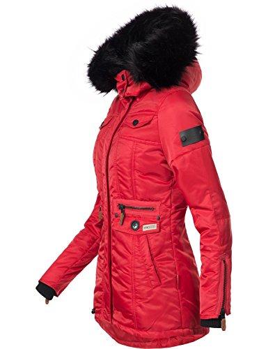 Giacca donna cappuccio XS Schätzchen Rosso con in Colori da XXL 8 sintetica Navahoo trapuntata pelliccia invernale Rqng055wH