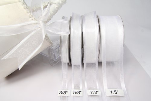1 X White Organza Ribbon With Satin Edge-25 Yards X 3/8 Inches