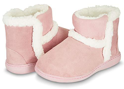 Floopi Womens Indoor Outdoor Bootie Slipper - Sherpa Fur Lined Clog W/Memory Foam (L, Pink-201) ()