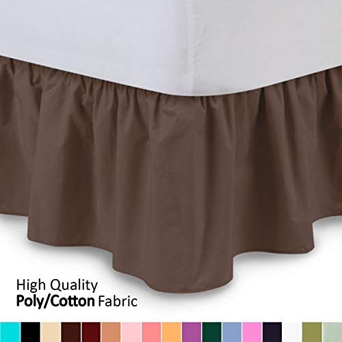 Shop Bedding Ruffled Bed Skirt (Queen, Brown) 14 Inch Drop Dust Ruffle with Platform, Wrinkle and Fade Resistant - by Harmony Lane (Available in All Bed Sizes and 16 Colors)