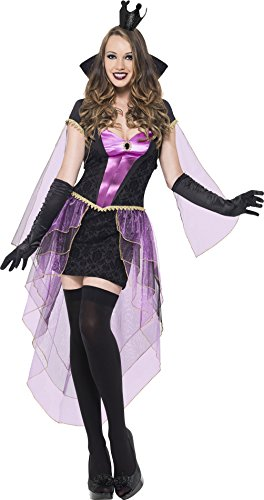 Evil Queen Sexy Costumes - Fever Women's Mirror Mistress, Black/Purple,