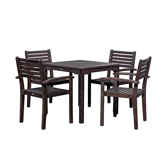 DTY Outdoor Living Leadville Square 5-Piece Eucalyptus Dining Set, Espresso Finish - FOREST STEWARDSHIP COUNCIL CERTIFIED: Go Green! Our FSC Eucalyptus is sustainable, eco-friendly wood and a renewable resource from well managed forests that are Forest Stewardship Council certified BUILT TO LAST: Created from 100% eucalyptus this dining set is naturally weather resistant and will stand up to the elements, perfect for any climate. Its high oil content repels bugs and helps protect it from moisture, UV rays, decay and rot. STYLISH DESIGN: Casual yet stylish this beautiful 5-piece square dining set is sure to make your summer gatherings a success. The set features a table and 4 stacking arm chairs for easy storage. - patio-furniture, dining-sets-patio-funiture, patio - 41C5sVuDnsL. SS570  -