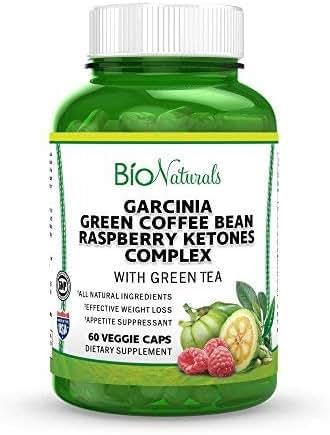 Bio Naturals Garcinia Cambogia Premium HCA Weight Loss Pills For Women & Men – 100% Natural Diet Supplement & Appetite Suppressant w/ Raspberry Ketones, Green Coffee Bean & Green Tea – 60 Capsules