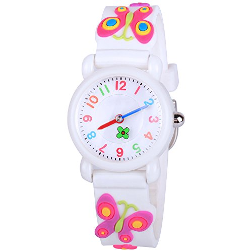 Venhoo Kids Watches Cartoon Waterproof Silicone Children Wristwatches Time Teacher Gifts for Boys Girls (White Buttery)