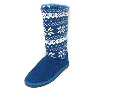 Women's Suede Mid Calf Snowflake Design Warm Winter Snow Boots Booties Shoes (11, Blue)