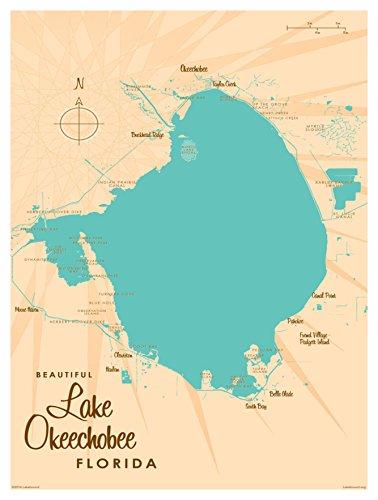 Lake Okeechobee Florida Map Vintage-Style Art Print by Lakebound (9