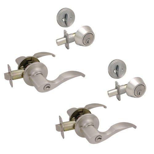 2 - Sedona Satin Nickel Entry Lever with Matching Single Cylinder Deadbolt Combo Packs Keyed Alike (We Key Lock Orders Alike for Free) ()