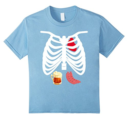 Kids Rib Cage With Heart Beer & Hot Dog Lovers Halloween Costumes 4 Baby Blue (Hot Dog Halloween Costume For Baby)