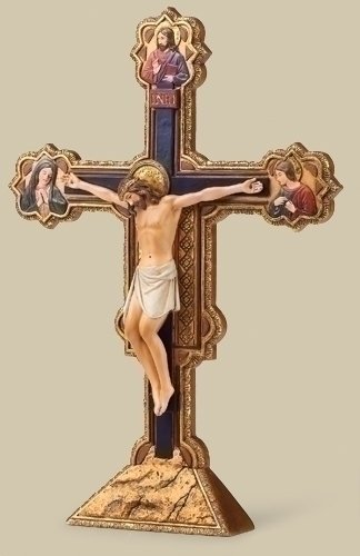 Collection Crucifix (Renaissance Collection Joseph's Studio Exclusive The Ognissanti All Saints Tabletop Crucifix Freestands Cross, 10.5-Inch)