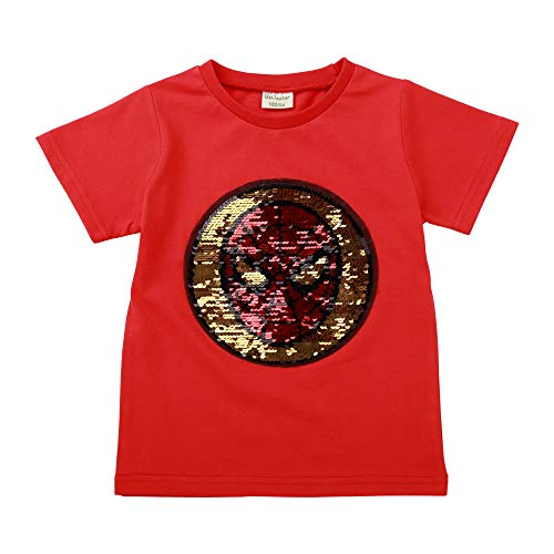 Spider Short Sleeve Tees - Little Boys Flip Sequin T-Shirt Cotton Crewneck Short Sleeve Tees Tops 3-8T (3T/100, Red/Spider)