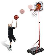 Abree Verstelbare basketbalkorf voor kinderen, van 80 tot 170 cm, met standaard, basketbalstandaard voor 3-12 jaar