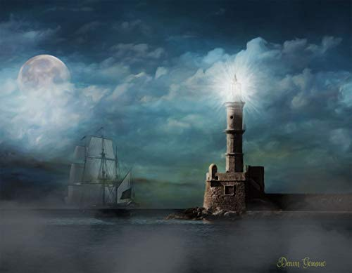 Lighthouse Oil Painting - Haunted Light House Watercolor Artwork - Pirate Ghost Ship Digital Oil Painting