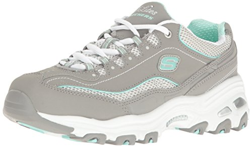 Skechers Sport Women's D'lites Lifesaver Fashion Sneaker, Gray/White Life Saver, 9 M US