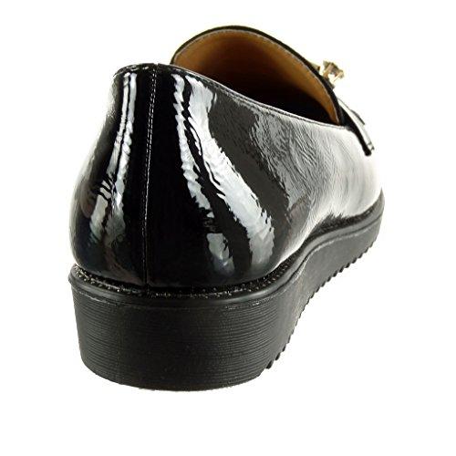 Chaussure Noir Mode Cm Mocassin Angkorly 5 Frange 2 Femme Verni Compensé on Bijoux Slip Talon 16qqxwnOd