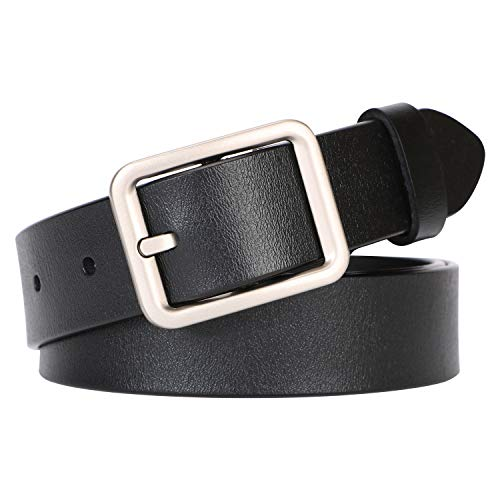 Women Belt for Jeans Dress Pants,SUOSDEY Black Leather Design Belts for Women With Square Buckle (Square Buckle Belt)